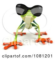 Clipart 3d Argie Frog Crouching And Wearing Sunglasses Royalty Free CGI Illustration