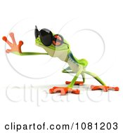 Clipart 3d Argie Frog Wearing Sunglasses And Reaching Royalty Free CGI Illustration