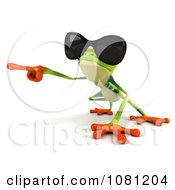 Clipart 3d Argie Frog Wearing Shades And Pointing Left Royalty Free CGI Illustration
