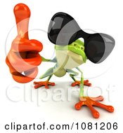 Clipart 3d Argie Frog Wearing Shades And Holding A Thumb Up Royalty Free CGI Illustration