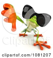 Clipart 3d Argie Frog Wearing Sunglasses And Holding A Thumb Down Royalty Free CGI Illustration