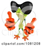 Clipart 3d Argie Frog Wearing Shades And Holding Two Thumbs Up Royalty Free CGI Illustration