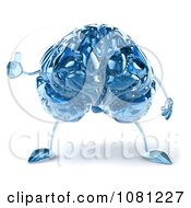Clipart 3d Blue Glass Brain Holding A Thumb Up 1 Royalty Free CGI Illustration by Julos