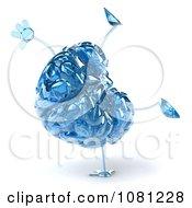 Clipart 3d Blue Glass Brain Cartwheeling Royalty Free CGI Illustration by Julos