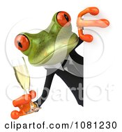 Clipart 3d Businsess Springer Frog Holding Champagne Around A Sign 2 Royalty Free CGI Illustration