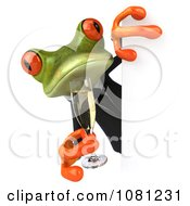 Clipart 3d Businsess Springer Frog Holding Champagne Around A Sign 1 Royalty Free CGI Illustration