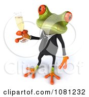 Clipart 3d Business Springer Frog Toasting With Champagne 4 Royalty Free CGI Illustration