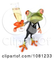 Clipart 3d Business Springer Frog Toasting With Champagne 3 Royalty Free CGI Illustration