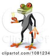 Clipart 3d Business Springer Frog Toasting With Champagne 2 Royalty Free CGI Illustration
