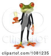 Clipart 3d Business Springer Frog Toasting With Champagne 1 Royalty Free CGI Illustration
