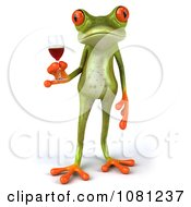 Clipart 3d Springer Frog Toasting With Red Wine 1 Royalty Free CGI Illustration