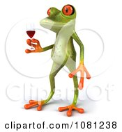 Clipart 3d Springer Frog Toasting With Red Wine 2 Royalty Free CGI Illustration