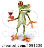 Clipart 3d Springer Frog Toasting With Red Wine 3 Royalty Free CGI Illustration