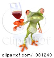 Clipart 3d Springer Frog Toasting With Red Wine 4 Royalty Free CGI Illustration