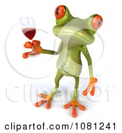 Clipart 3d Springer Frog Toasting With Red Wine 5 Royalty Free CGI Illustration