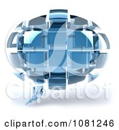 Clipart 3d Chat Balloon Made Of Blue Glass Cubes Royalty Free CGI Illustration by Julos
