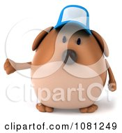 Clipart 3d Chubby Brown Dog Pointing Left Royalty Free CGI Illustration