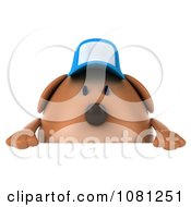 Clipart 3d Chubby Brown Dog Wearing A Hat And Holding A Blank Sign 1 Royalty Free CGI Illustration