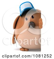Clipart 3d Chubby Brown Dog Wearing A Hat And Holding A Blank Sign 2 Royalty Free CGI Illustration