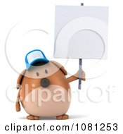 Clipart 3d Chubby Brown Dog Wearing A Hat And Holding A Blank Sign 3 Royalty Free CGI Illustration
