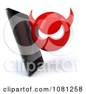 Clipart 3d Smart Phone With A Devil Virus Royalty Free CGI Illustration
