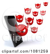 Clipart 3d Smart Phone With Devil Viruses Royalty Free CGI Illustration