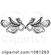 Clipart Black And White Leafy Swirl Butterfly Tattoo Design Element Royalty Free Vector Illustration