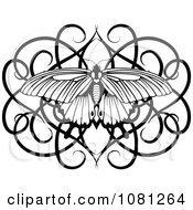 Clipart Black And White Swirl Butterfly Tattoo Design Element Royalty Free Vector Illustration