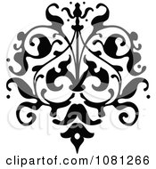 Clipart Black And White Ornate Floral Tattoo Design Element 2 Royalty Free Vector Illustration