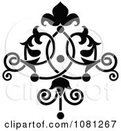 Clipart Black And White Ornate Floral Tattoo Design Element 1 Royalty Free Vector Illustration