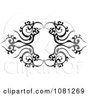 Clipart Black And White Tribal Frame Tattoo Design Element Royalty Free Vector Illustration