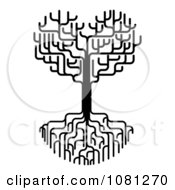 Clipart Black And White Heart Tree With Bare Branches And Deep Roots Royalty Free Vector Illustration