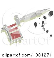 Clipart Silver Tattoo Gun With Ink Royalty Free Vector Illustration