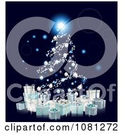 Clipart Christmas Tree Of Glowing Orbs And 3d Silver Baubles Over Gift Boxes Royalty Free Vector Illustration
