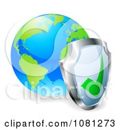 Clipart 3d Shield Against A Bright World Globe Royalty Free Vector Illustration