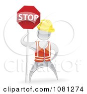 Clipart 3d Silver Road Construction Worker Holding A Stop Sign Royalty Free Vector Illustration
