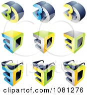 Set Of 3d Cubes And Glasses Logos