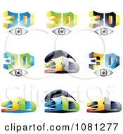 Set Of 3d Eyes And Glasses Logos