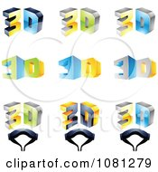 Set Of 3d Glasses And Text Logos