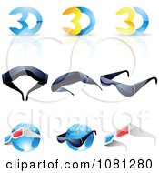Set Of 3d Glasses And Globes Logos