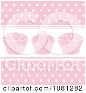 Clipart Pastel Pink Cupcake Background With Polka Dots Royalty Free Vector Illustration