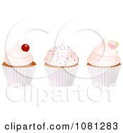 Clipart 3d Frosted Cupcakes With A Cherry Sprinkles And Heart Royalty Free Vector Illustration