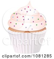 Clipart 3d Frosted Cupcake With Sprinkles Royalty Free Vector Illustration