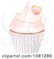 Clipart 3d Frosted Cupcake With A Heart Royalty Free Vector Illustration