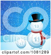 Clipart 3d Christmas Lotto Or Bingo Snowman In The Snow Royalty Free Vector Illustration by elaineitalia