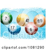 3d Colorful Christmas Lotto Or Bingo Balls In Grungy Snow