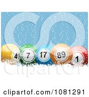 3d Colorful Christmas Jackpot Or Bingo Balls In The Snow