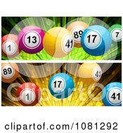 Clipart 3d Green And Orange Burst And Bingo Ball Website Banners Royalty Free Vector Illustration