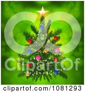 3d Miniature Christmas Tree With Colorful Baubles Over Green