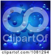 Clipart 3d Molecular Structures With Flares On Blue Royalty Free Vector Illustration